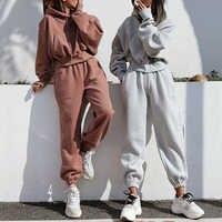 Conjunto de Sudadera con capucha holgada informal para mujer, ropa deportiva cómoda de dos piezas con manga de hombro y cintura alta, 2020