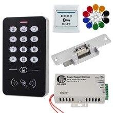 RFID アクセス制御システムキットスタンドアロンコントローラのキーパッド 1000 ユーザー電子ドアロック電源 125 125khz の Id キーフォブタグ
