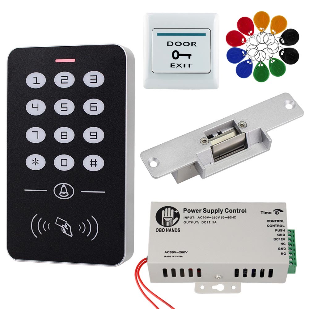 RFID Access Control System Kit Standalone Controller Keypad 1000 Users Electronic Door Lock  Power Supply 125KHz ID Keyfobs Tags