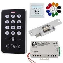 نظام التحكم في الوصول إلى rfid كيت المجمعة تحكم لوحة المفاتيح 1000 للمستخدمين قفل الباب الالكتروني امدادات الطاقة 125KHz ID Keyfobs الكلمات