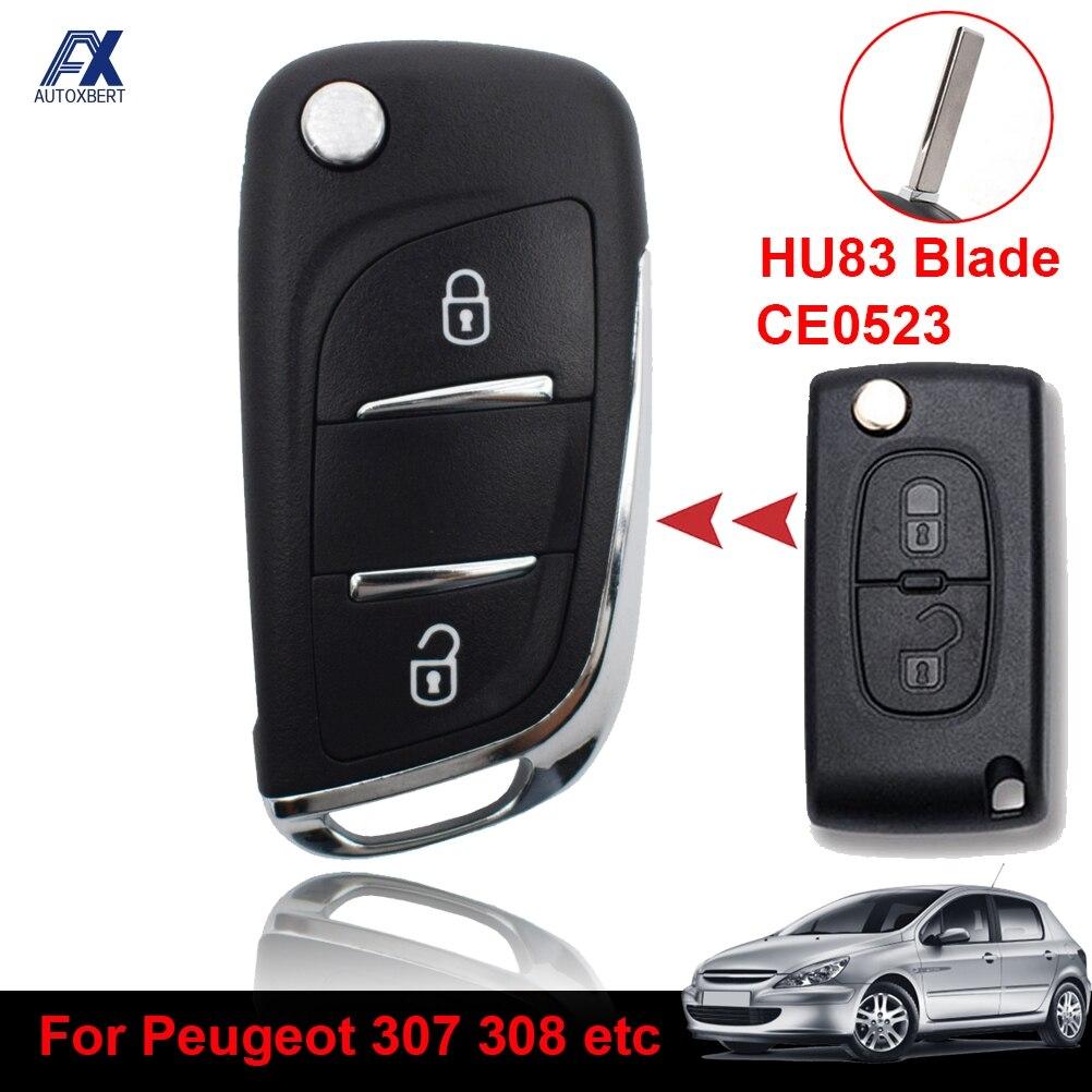 Чехол для автомобильного ключа, Сменный Чехол для Peugeot 207 308 308 3008 508 2 кнопки HU83 Blade CE0523, модификация