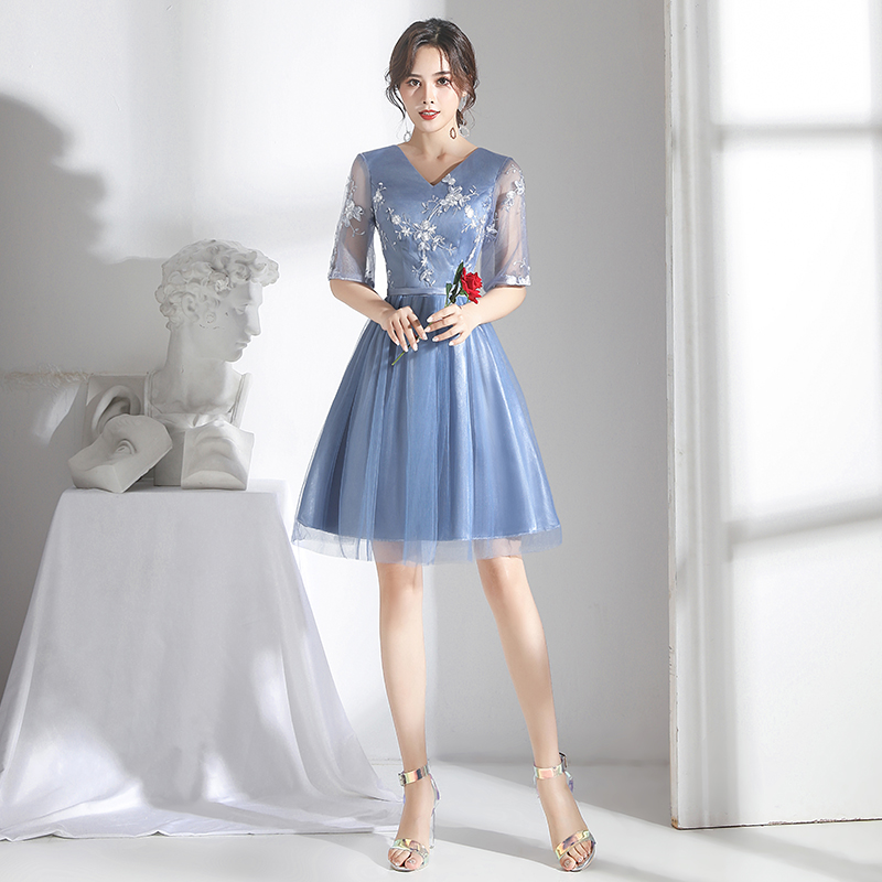 Gray Blue Bridesmaid Dresses Short Tulle Embroidery Junior Guest Wedding Party Dress Elegant Vestido Azul Marino Sexy Prom Dress