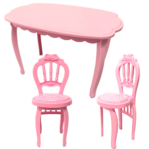 NK 3 Items/Set Doll Accessories 2 Fashion Chairs +1 Modern Table For Barbie Furniture Dining Home Toys Girl Gift 9X