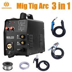 HZXVOGEN 220V Mig Welder MIG250 TIG ARC MMA 3 in 1 Function Gas & Gasless Welding Machine Fit 0.8mm 1mm Soldering Wire