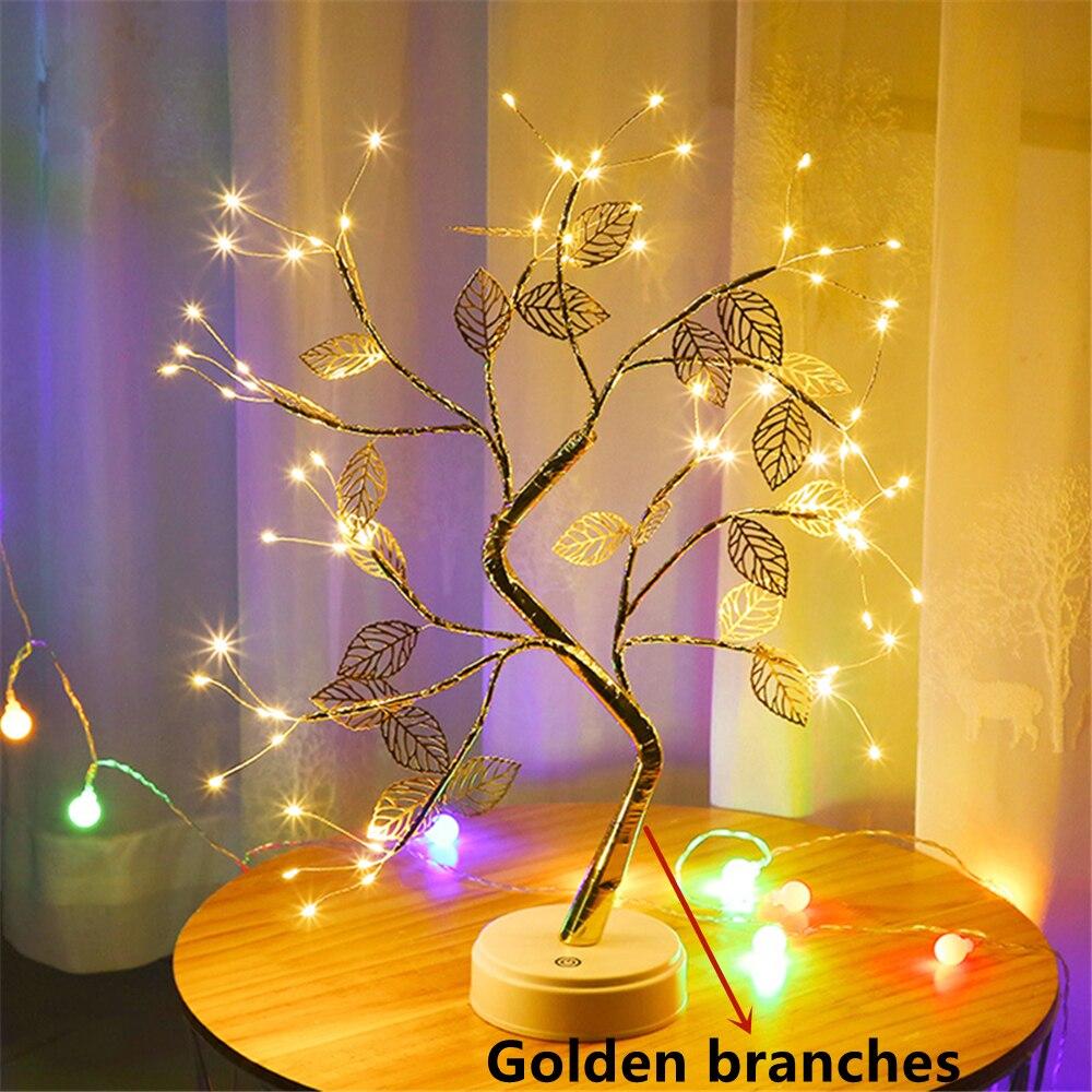 LED Night Light Mini Christmas Tree Copper Wire Garland Lamp For Home Kids Bedroom Decor Fairy Lights Luminary Holiday lighting