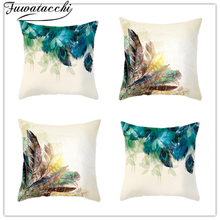 2pcs Fuwatacchi Beauty feather Cushion Covers Cartoon Christmas Pillow Cover for Home Sofa Decorative Throw Pillowcases 45*45cm