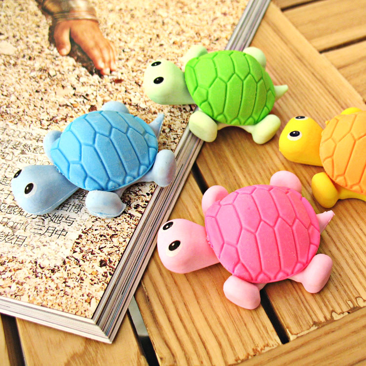 24 Pcs Creative Stationery Small Turtle Simulation Eraser Animal Cartoon Rubber Student Stationery Stationery For School