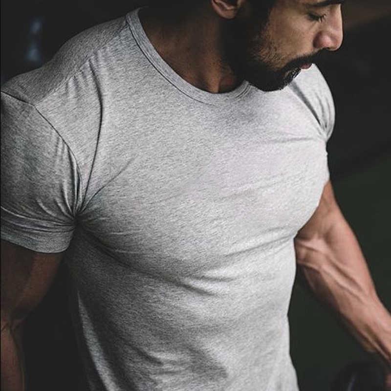 트렌디 남성 t 셔츠 캐주얼 타이트 반소매 슬림 남성 기본 탑스 티셔츠 여름 스트레치 솔리드 티셔츠 남성 의류 티셔츠 체육관