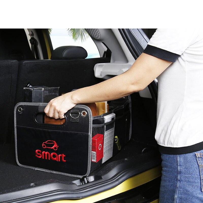 Image 2 - Składany czarny torba do przechowywania z tkaniny oxford do przechowywania torba dla Smart Fortwo Forfour 453 451 logo jeśli w tej klasie nie ma samochodu akcesoria samochodowe torba z siateczkąSprzątanie i organizacja   -