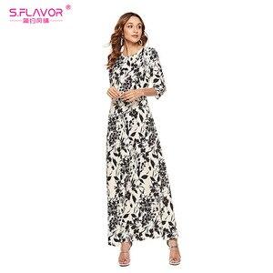 Image 5 - S.FLAVOR Women Slim Long Dress Autumn Winter Plus Size 3/4 Sleeve O Neck Floral Print Boho Maxi Dress Elegant Party Vestido