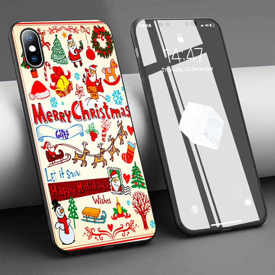 Coque Cartoon Merry Christmas Wallpaper Soft Silicone Phone Case For Iphone 11 Pro Max X 5s 6 6s Xr Xs Max 7 8 Plus Case Cover Fitted Cases Aliexpress