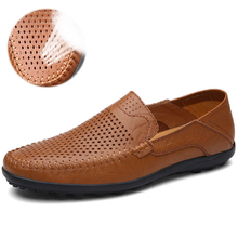 Ltalian Leather Men's Shoes Casual Luxury Brand Summer Men's Lazy Casual