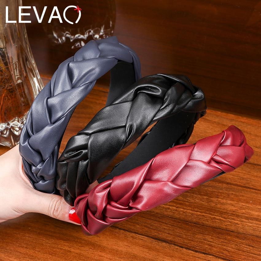 Levao PU Bezel Headband Leather Weaving Braid Hair Band Hoop For Girls Women Headwear Braided Twist Headband Hair Accessories