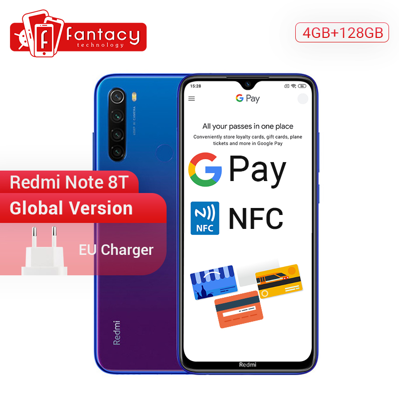 New Arrival Global Version Redmi Note 8T 8 T 4GB RAM 128GB ROM Snapdragon 665 Octa Core 6.3'' FHD+ Display 4000mAh 18W QC NFC