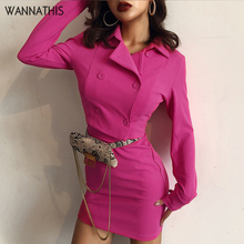 цена на WannaThis Blazer Women Set Turn-down Collar Long Sleeve Button Cardigan Top and Mini Skirt Solid Slim Fashion Women 2 Pieces set
