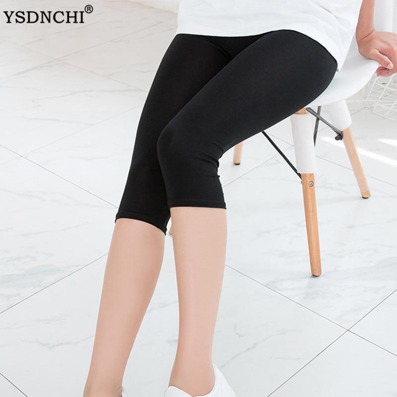 YSDNCHI Polyester Solid Black Leggings Women Jegging High Waist Plus Size Fitness Capri Elastic Mid-Calf Short Cropped Pants