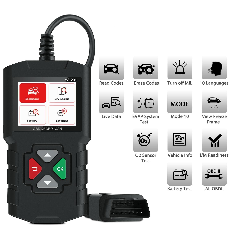 YA101 OBD2 Car Scanner OBD II YA201 EOBD Auto Code Reader YA301 Car Diagnostic Tool for Check Engine Light O2 Sensor EVAP Test Code Readers & Scan Tools    - AliExpress
