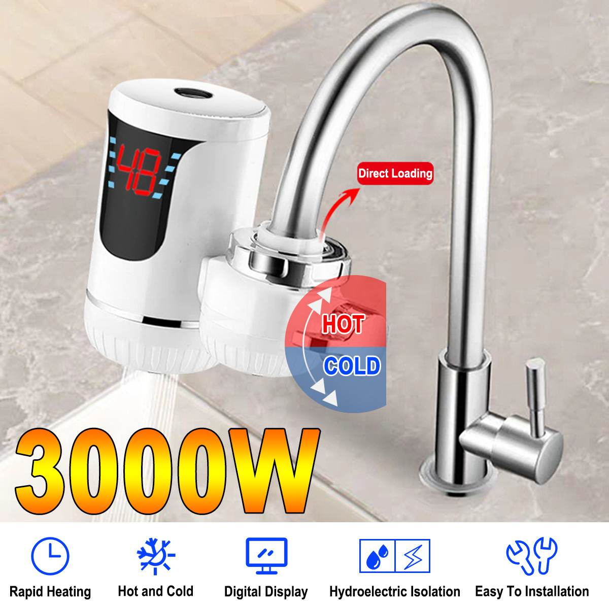 3000W Electric Water Heaters LED Digital Display Kitchen Faucet Tankless Heating Kitchen Tap EU Plug Household 220V