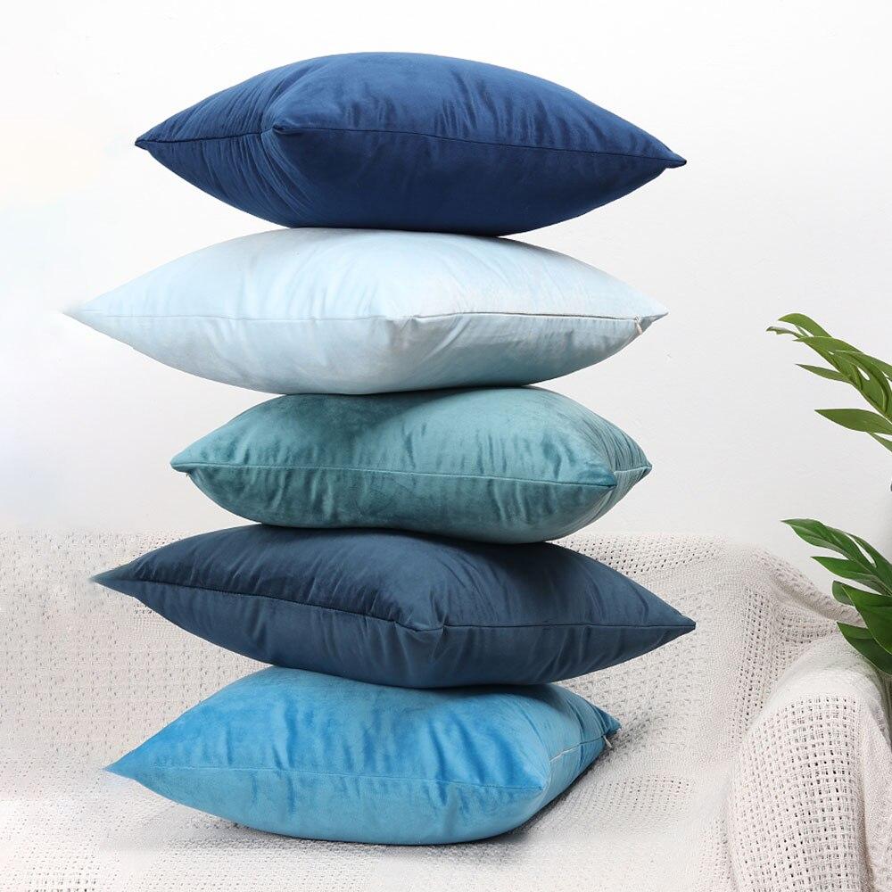 Роскошный синий мягкий декоративный чехол на подушки, Современное украшение для дома, декоративные подушки, наволочка для дивана, наволочка, чехол|Наволочка|   | АлиЭкспресс