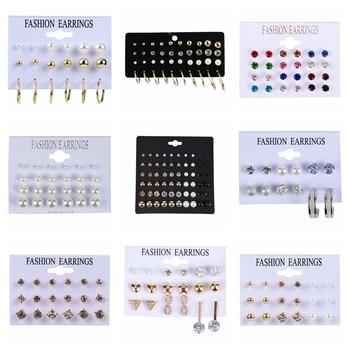 6-30Pairs/Set Crystal Rhinestone Pearl Stud Earrings Set Fashion Birthday Stone Simple Jewelry For Women - discount item  36% OFF Fashion Jewelry