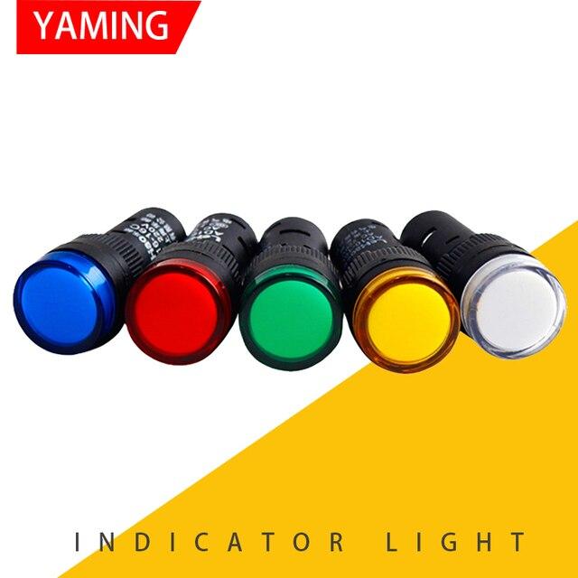 Lâmpada piloto de led com indicador de 16mm p53, luz de piloto de AD16 16C, indicador de energia para montagem em painel 12v/24v/36v/48v/220v/380v