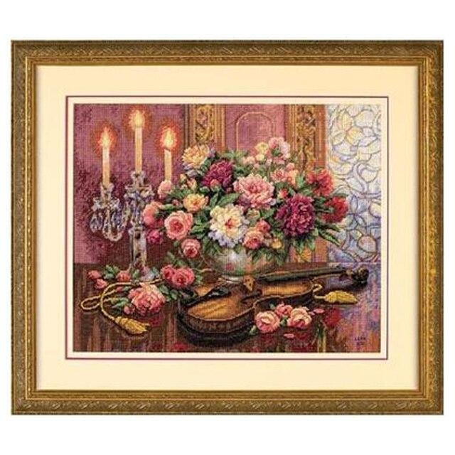مجموعة غرز متقاطعة رائعة ذات جودة عالية الأعلى مبيعًا بنقشة زهور رومنسية وكمان قاتم 35185