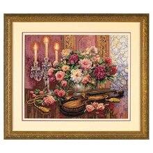 Kit de flor floral romântico, lindo kit de ponto cruz e violino 35185