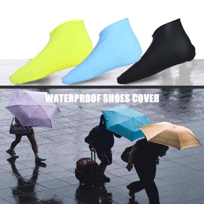 1 Pasang Dapat Digunakan Kembali Penutup Sepatu Tahan Air Silikon Non-Slip Hujan Boots Sepatu Pelindung Luar Bisa Bersepeda Di Luar Ruangan Olahraga Sepatu Penutup