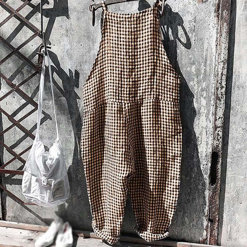 Women Jumpsuit Strap Harem Rompers Trousers Plaid Striped Casual Loose Baggy Fashion Overalls For Woman