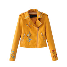 Fashion Embroidered PU Leather Jacket  Women 2019 Spring Aut