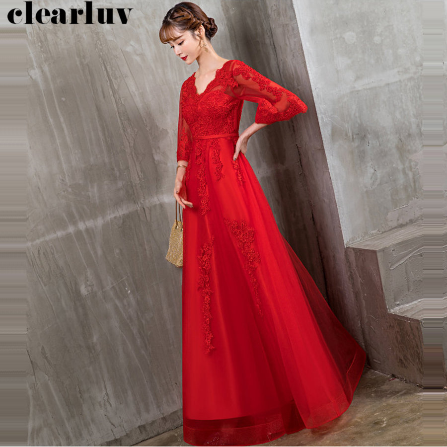 Formal Dresses Plus Size Elegant Floor Length Evening Gown Robe De Soiree Y031 2019 Red Deep V-Neck Pregnant Women Party Dresses
