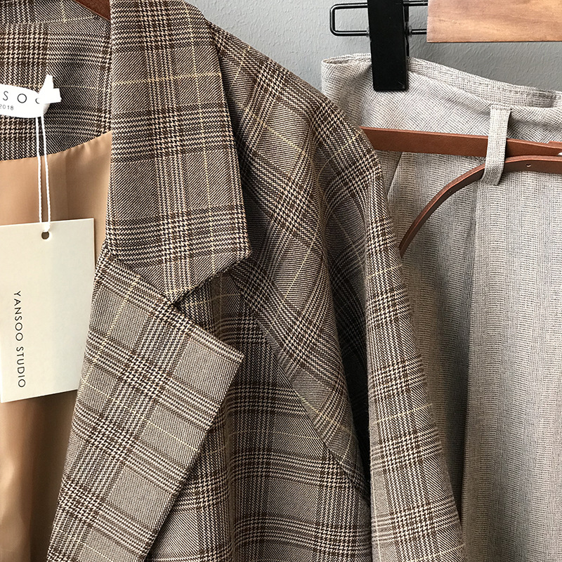 Vintage Autumn Plaid Blazer Women Notched Collar Double Breasted Loose Female Plaid Suit Jacket Casual Long Sleeve Coats vs372