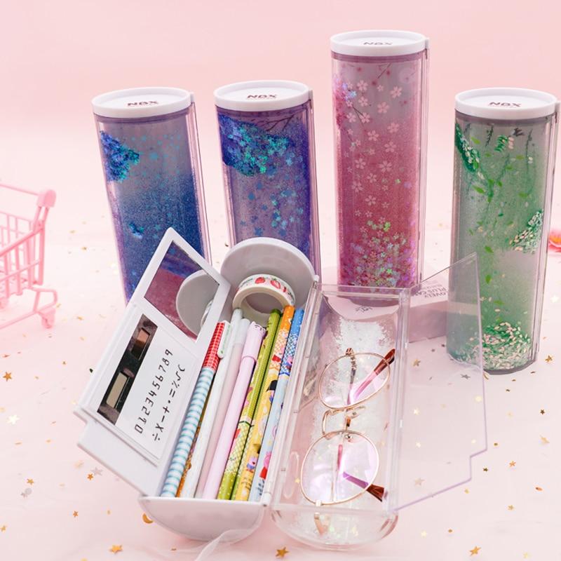 2020 nova novidade multifuncoes cilindrico areia movedica translucido caixa de lapis caso escola papelaria caneta titular