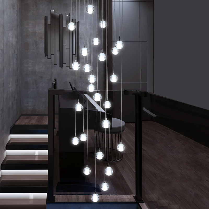 Modern simple Glass ball LED Chandelier indoor villa living room staircase lighting Hotel lobby clubhouse decor Hanging lights