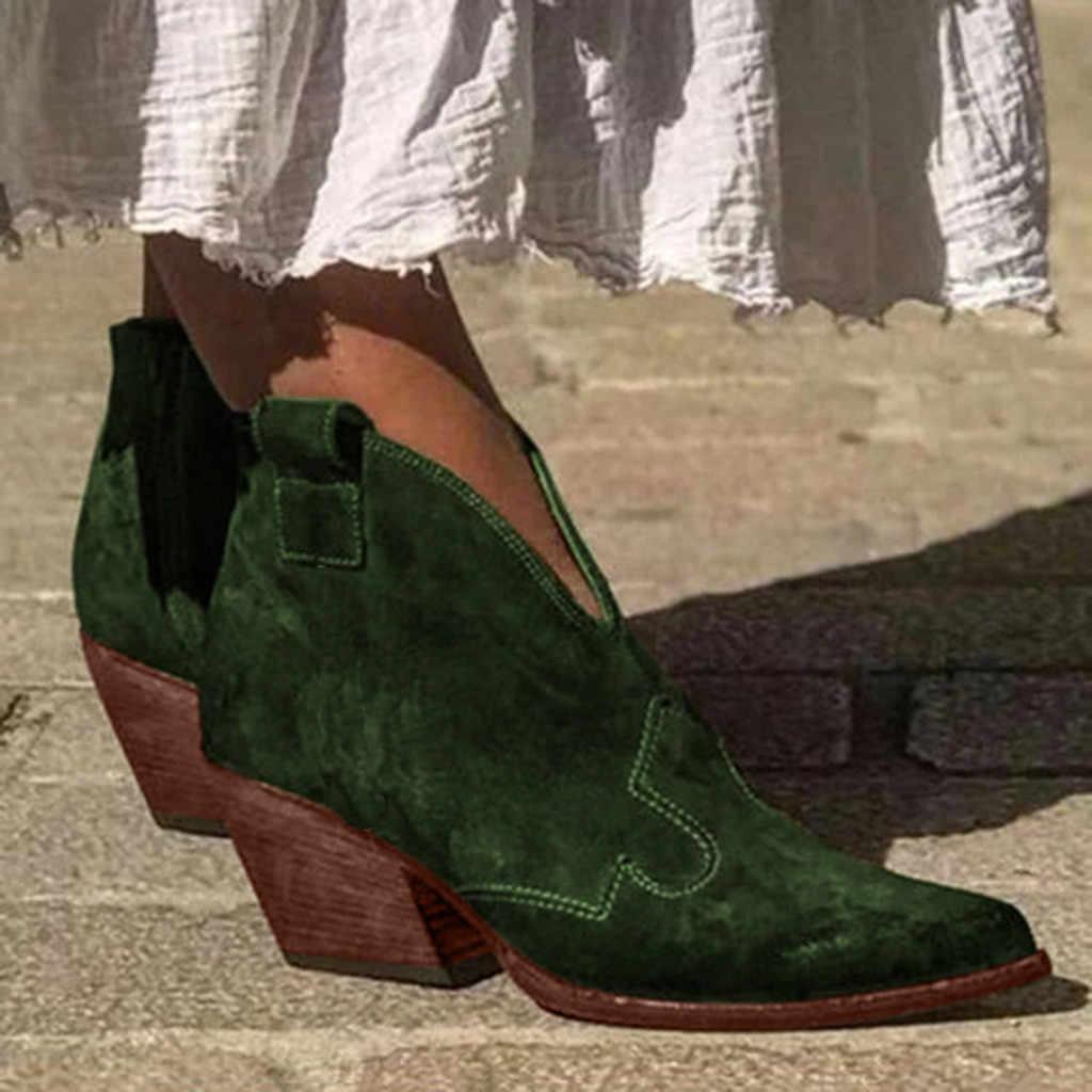 סקסי קרסול מגפי נשים סתיו 2019 מערבי קאובוי מגפי הבוהן מחודדת זמש נעליים אלגנטיות קצרות נשיות # G7