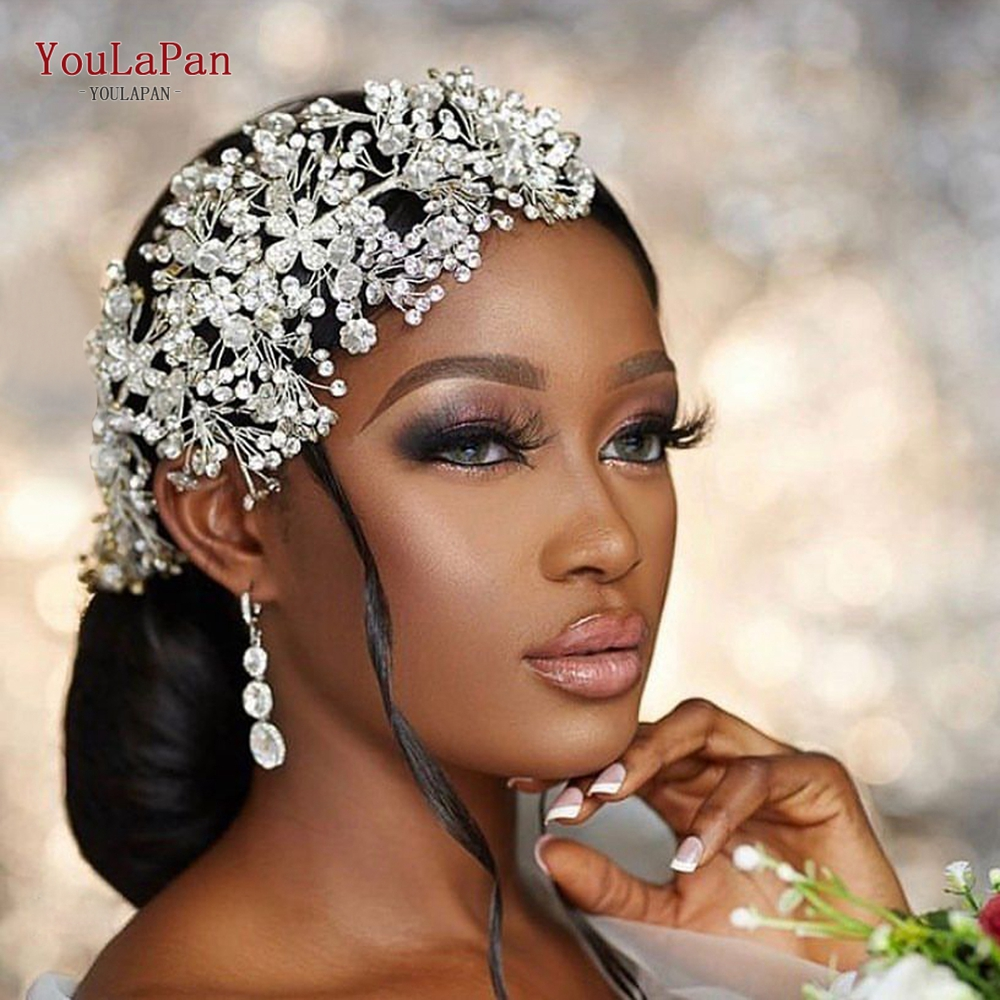 Jewelry Hair-Accessories Wedding-Headband Rhinestone Bridal-Hair TOPQUEEN Silver HP240