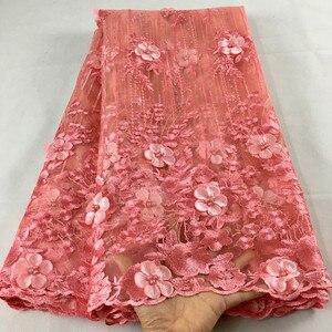 Африканская кружевная ткань 2019, Высококачественная кружевная розовая Свадебная кружевная ткань с бисером, нигерийская фатиновая сетчатая ...