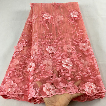 African Lace Fabric 2019 High Quality Pink Bridal With Beaded Nigerian Tulle Mesh Fabrics HX05F - discount item  42% OFF Arts,Crafts & Sewing