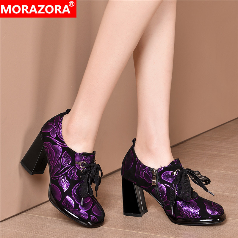 MORAZORA New 2020 Plus Size 33-43 Sheepskin Genuine Leather Shoes Woman Thick High Heels Shoes Lace Up Printed Platform Pumps