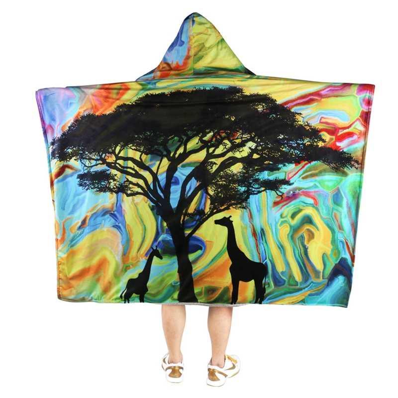 Manta de Lana 3D impresa adultos mujeres hombres capa con capucha Cosplay mantas gruesas doble cubierta de felpa manto ropa caliente nueva