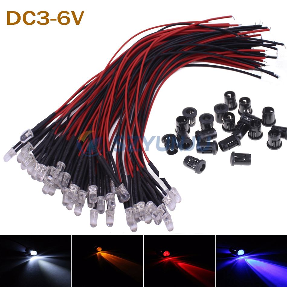 10-100 шт. F3mm F5mm LED красный/зеленый/синий/RGB Белый UV розовый DC3-6V круглый Предварительно проводной прозрачный светодиод с пластиковым держателем