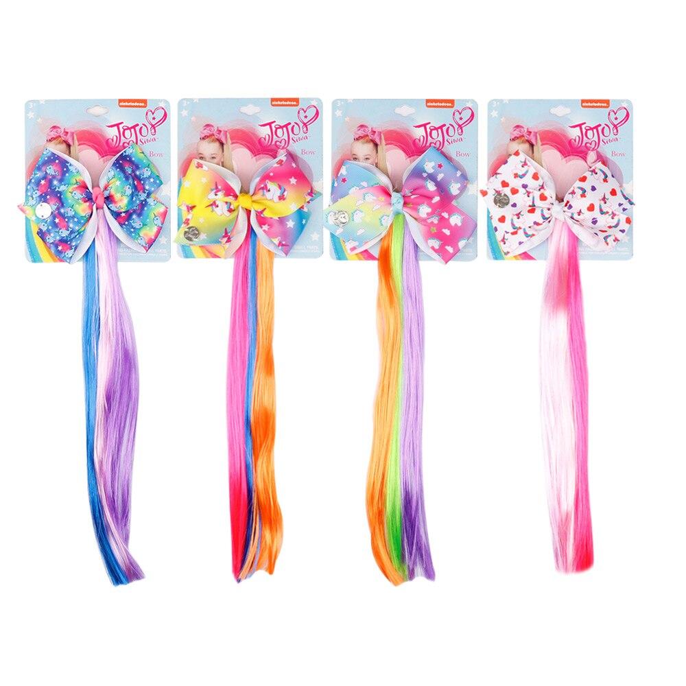 Pince à cheveux licorne de dessin animé Jojo Siwa | Clip de tissage, nœuds imprimés avec nœuds colorés, accessoires pour cheveux, 4 pièces/lot