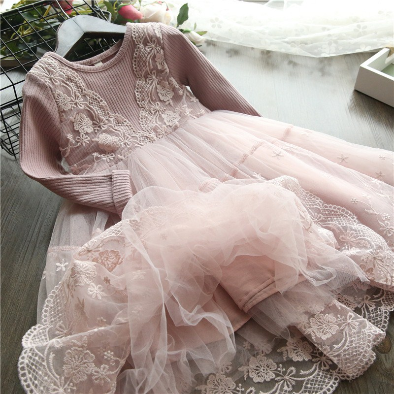 Long Sleeve Girls Dress 2020 Winter Lace Flower Dress for Girls Floral Ball Gown Baby Girl Clothes Kids Dresses for Girls Wear 1