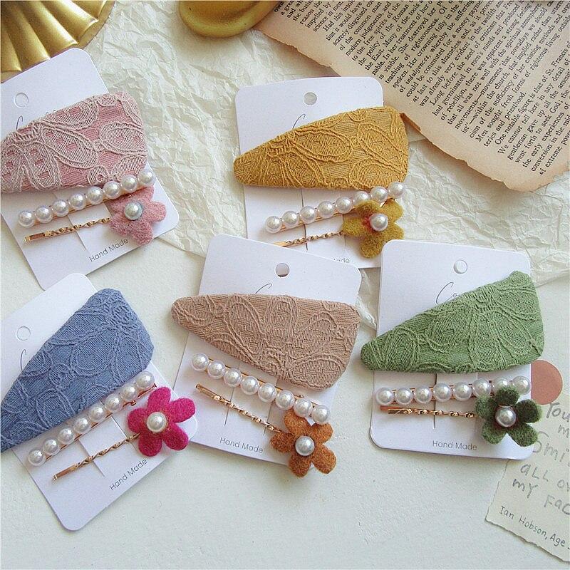 3 Pcs/set Korean Aesthetic Temperament Lace Flower Fabric BB Clip For Sweet Girl Women Fashion Imitation Pearl Hairpins Headwear