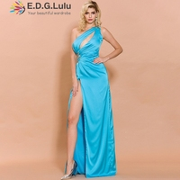 EDGLuLu birthday dress for women elegant one shoulderparty maxi dress women sexy light blue evening high slit dress