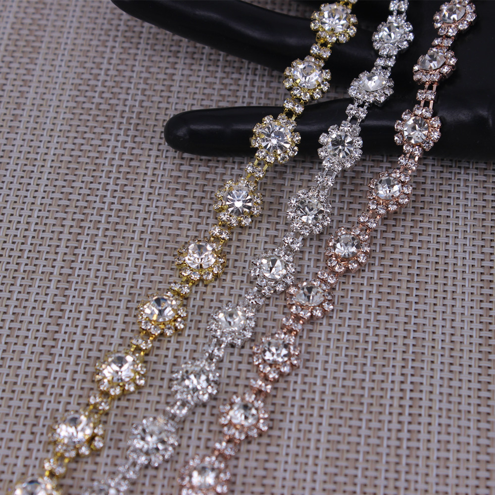 Shiny Flower Shape Crystal Rose Gold ,silver,gold Rhinestones Trim Metal Chain Ribbon For Dress, Bag, Shoes Accessories