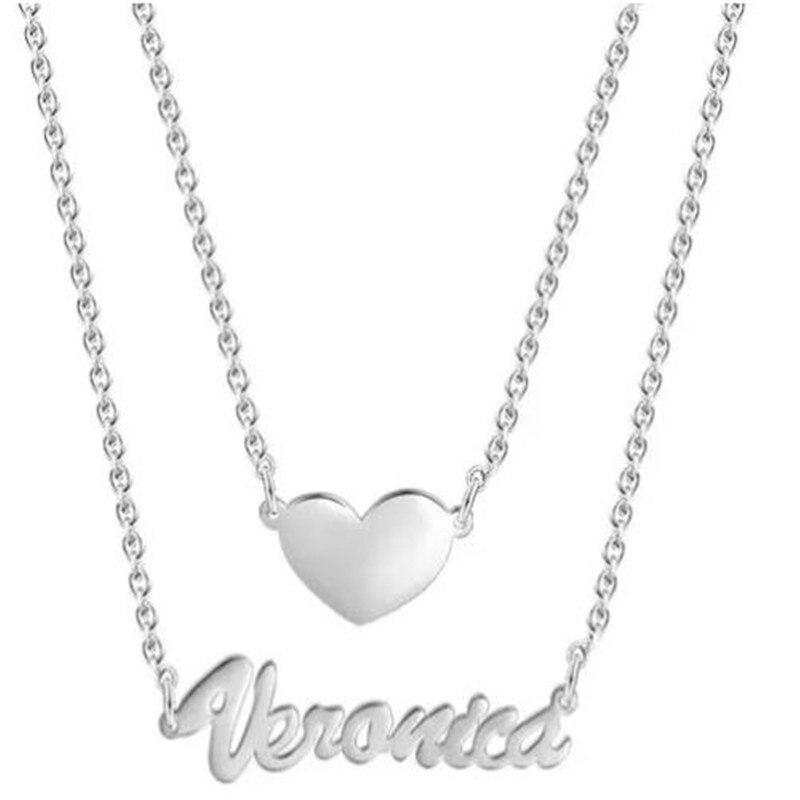 Deux couches personnalisé coeur nom collier argent Double collier japonais-coréen argent clavicule collier