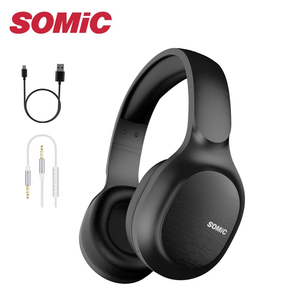 SOMiC Bluetooth Headphones Wireless 72H Playtime CVC8 0 Noise Reduction Hi-Res Certified Sound Headset Comfortable to Wear MS300