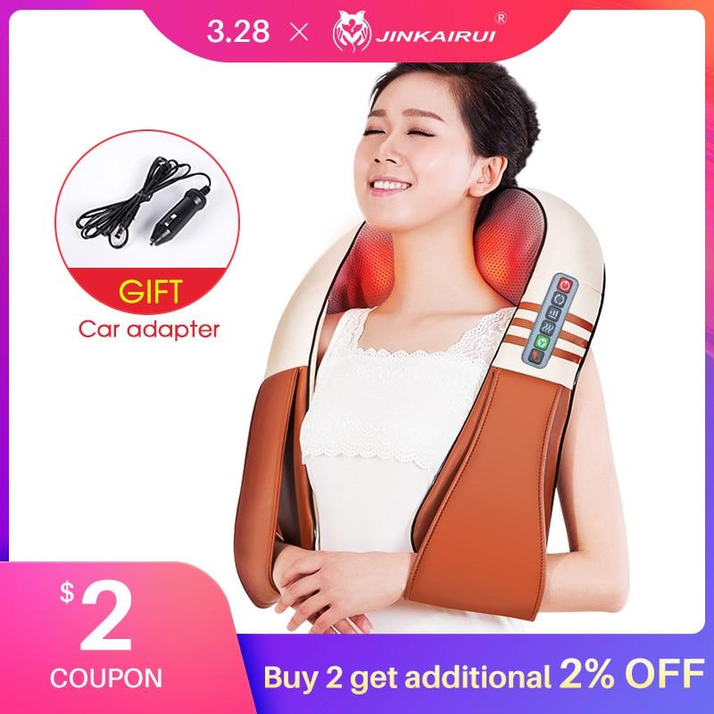 Jinkairui Home Car Electrical Body Massager Relaxation Massage U Shape Neck Back Shoulder Shiatsu Infrared 3D Kneading Massager