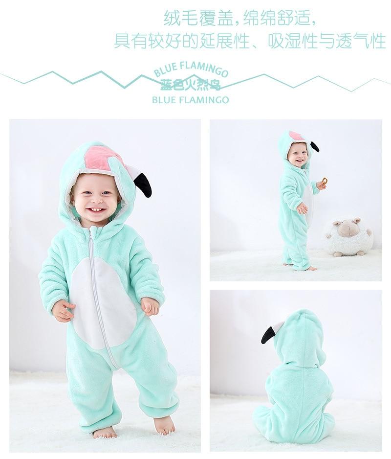 Hb8984c422ba742d5b3080dd59a8c8431s Cute Cartoon Flannel Baby Rompers Novelty Rabbit Cotton Baby Boys Girls Animal Rompers Stitch Baby's Sets kigurumi New born 2019